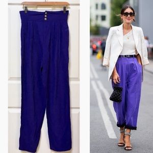 Vintage 80s High Waisted Purple Trousers